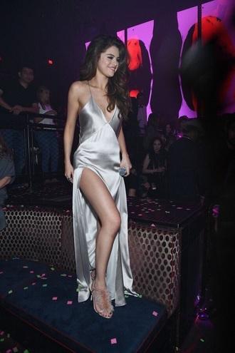 dress selena gomez silver silver dress slit dress fur