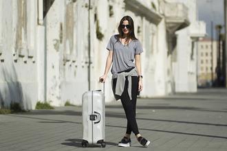 fashion vibe blogger t-shirt sunglasses casual suitcase