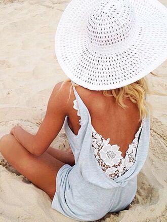 romper lace back summer light blue white beach pinterest
