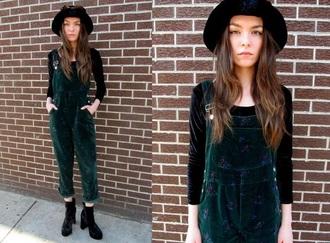 jumpsuit green velvet green velvet grunge floral vintage overalls dungarees