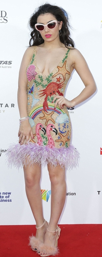 sandals charli xcx feathers