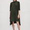 Shirt dress with irregular hem - khaki green - dresses - cos us