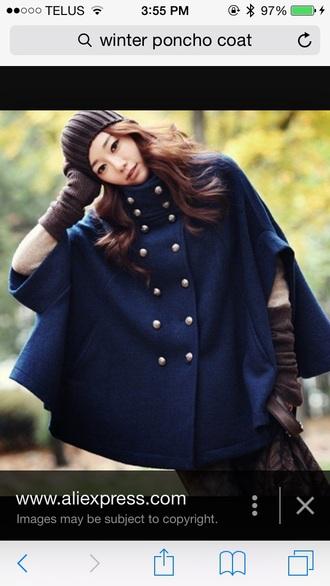 coat navy poncho