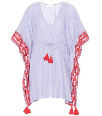 beach embroidered blue top