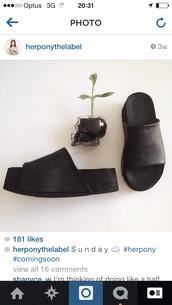shoes,her pony,herpony,flatforms,black flatforms,slide shoes