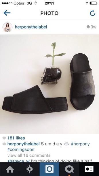 shoes her pony herpony flatforms black flatforms slide shoes