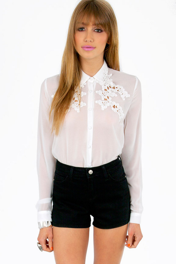 Linda Embroidery Sheer Top - Tobi