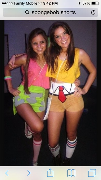 top green and purple sponge bob and patrick high waisted shorts yellow top crop tops pink crop top