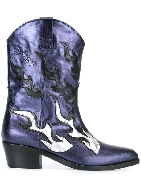 Chiara Ferragni western boots women boots leather blue shoes