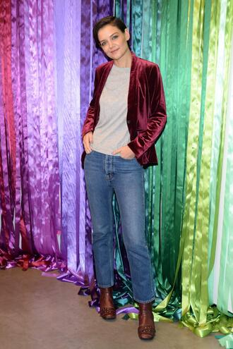 jacket velvet blazer katie holmes fall outfits top jeans