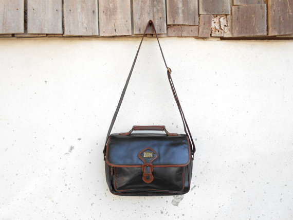 Vintage DITTA LUIS Black Leather Messenger Bag // by VindicoShop