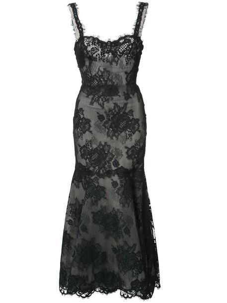 Monique Lhuillier dress maxi dress maxi women lace cotton black silk