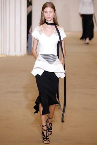skirt midi skirt asymmetrical skirt roland mouret paris fashion week 2016 blouse tunic top
