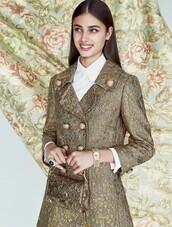 coat,Taylor hill,model,gold coat,shirt,white shirt,bag,gold bag