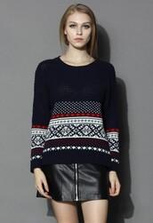 chicwish,fairisle sweater,waffle knit