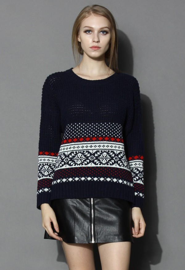 chicwish fairisle sweater waffle knit
