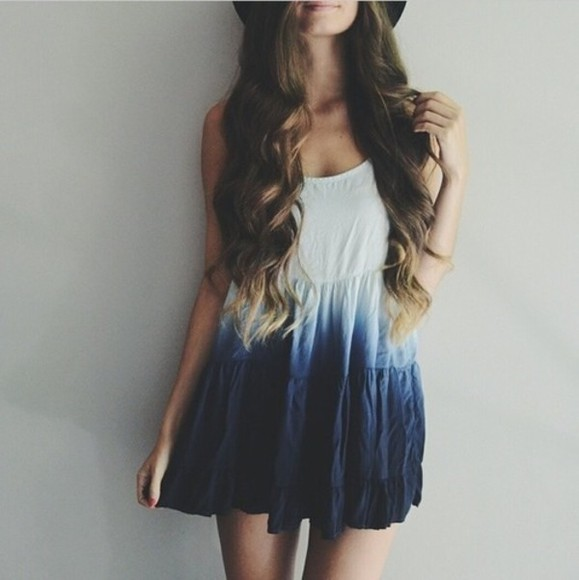 white dress blue dress brandy melville boho beach back to school ombre dip dye dress summer outfits blue dip dye dress short dress shorts short ombre dress ombre sundress blue cream white