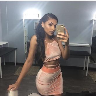 dress peach two-piece crop tops skirt shirt