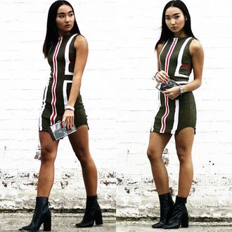dress maniere de voir khaki stripes zip front bodycon mini