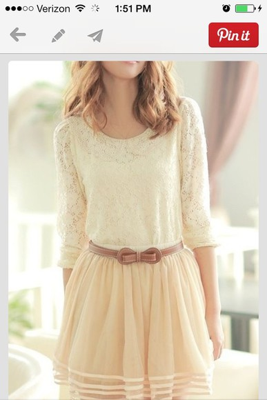 dress lace cream dress pink