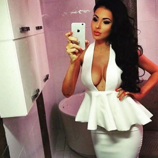 a77bff6705 dress dream it wear it dress clothes clothes white white dress peplum  peplum dress v neck