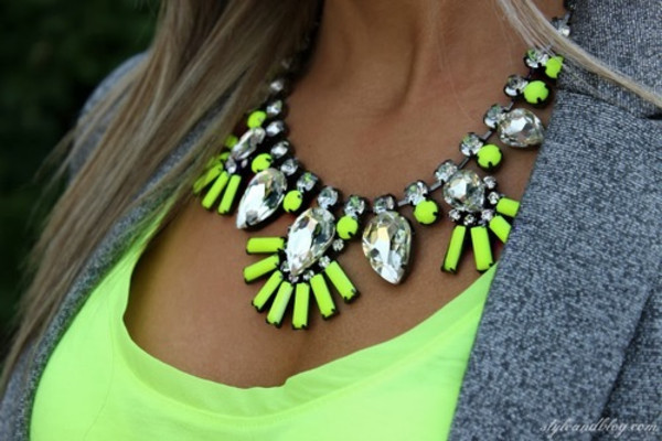 jewels necklace neon jewelry