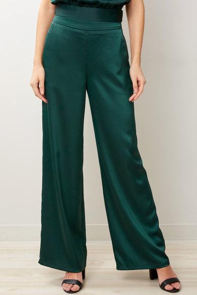 A Love Like You Emerald Satin Wide Leg Pant