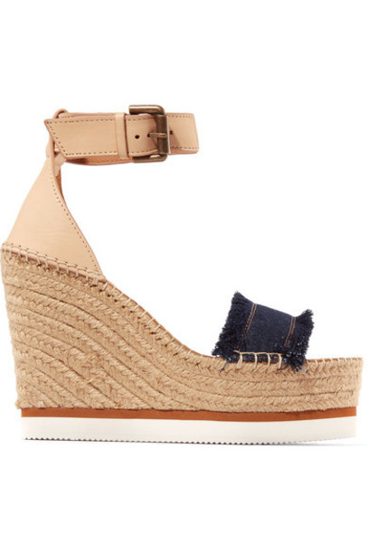 See by Chloe denim dark sandals wedge sandals leather shoes