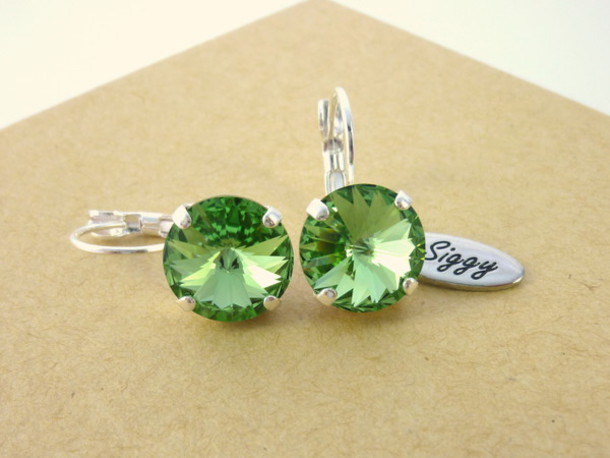 Jewels: swarovski swarovski earrings peridot green earrings