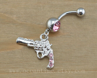 jewels silver gun pink stones belly button ring ring