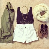 shoes,army green jacket,brown shoes,shorts,jacket,white shorts