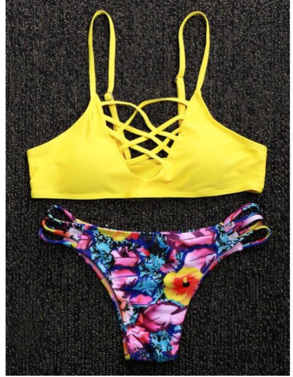 swimwear girly girl girly wishlist two-piece swimwear two piece dressfo sexy summer cute fashion yellow trendy instagram
