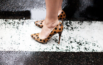 black shoes garance dore polka dots camel high heels
