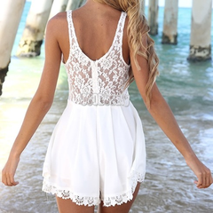 In Stock White Loren Playsuit