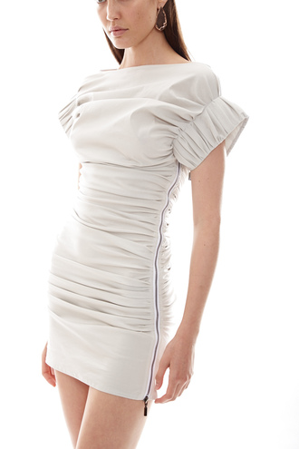 dress spring outfits spring dress mini dress white dress zipper dress rouched dress