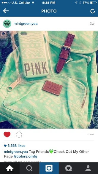 bag mint green backpack victoria's secret pink cheep price