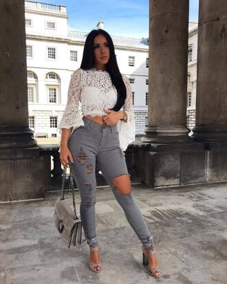 top white top jeans grey jeans handbag bag