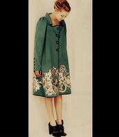jacket,green,buttons,ornate,shoes,heels,jade,black,coat,green dress,floral dress,cream,winter coat,pretty,grunge,hipster,tumblr,asian,style,fashion,long coat,artsy,tumblr outfit,tumblr girl,tumblr clothes,asian fashion