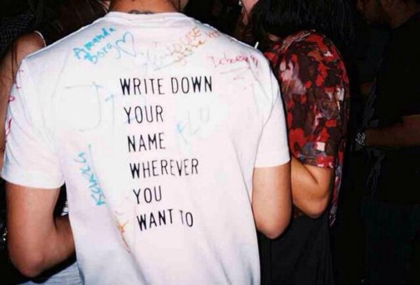 t-shirt yellow rainbow grunge name write white quote on it
