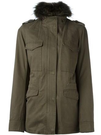 jacket fur women cotton green
