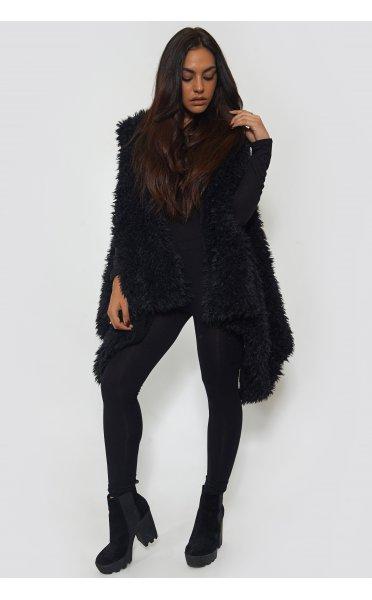 Faux Fur Black Shaggy Waistcoat - from The Fashion Bible UK
