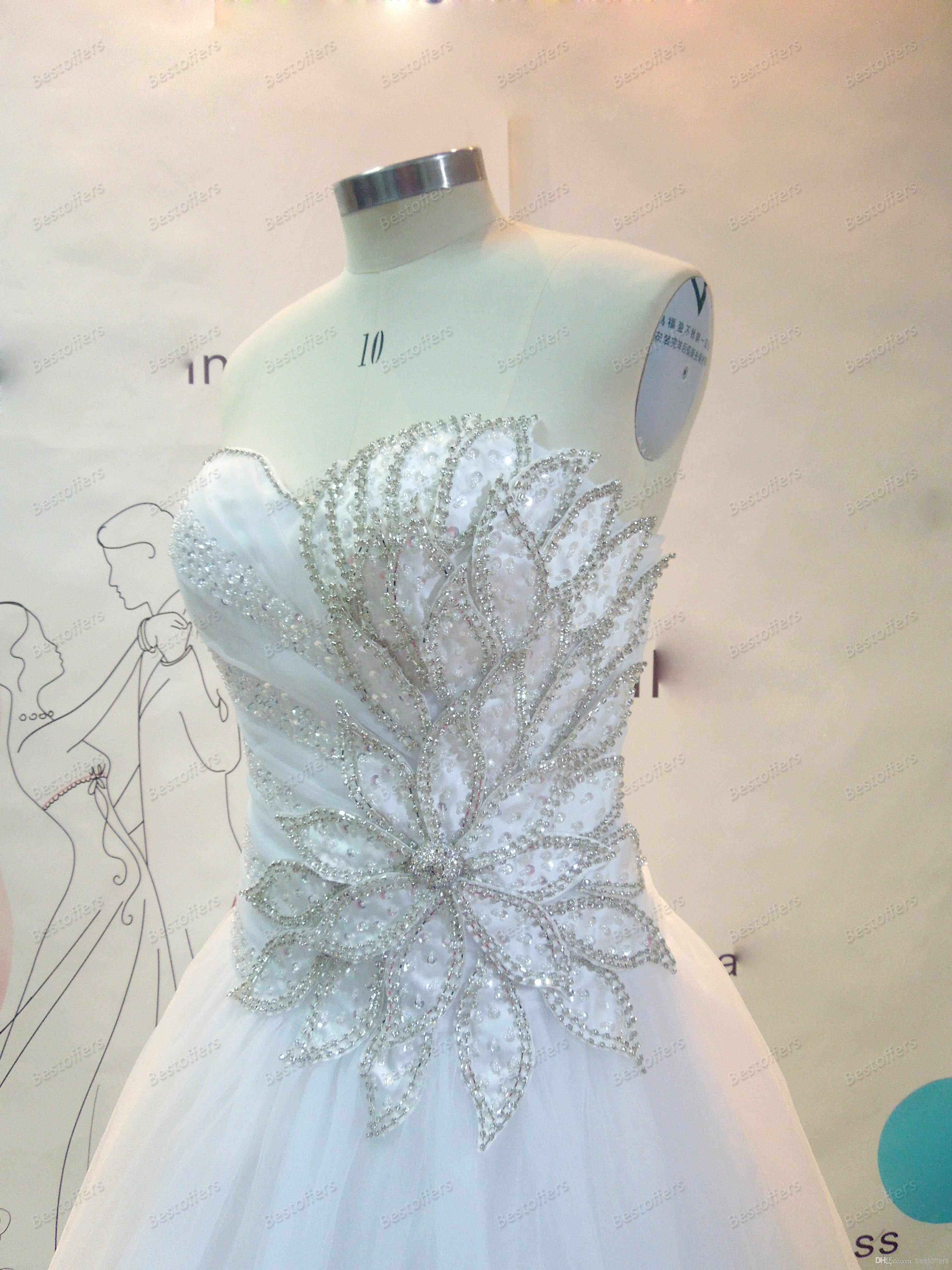 Bridal Gowns with Sweetheart Neck Beads Sequins Pleats A-Line Wedding Dresses   Buy Wholesale On Line Direct from China