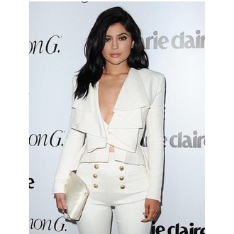 pants kylie jenner all white everything jacket blazer white jeans white blazer white