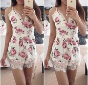 romper,lace,dress,top,lace dress,lace romper,floral,floral dress,cute dress,shorts romper,short dress,white romper,white lace romper,floral romper,flowers,outfit,summer outfits,boho dress,boho