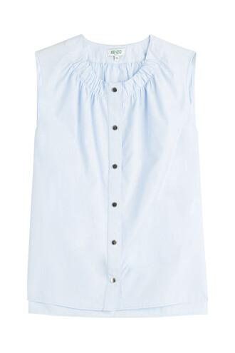 blouse sleeveless cotton blue top