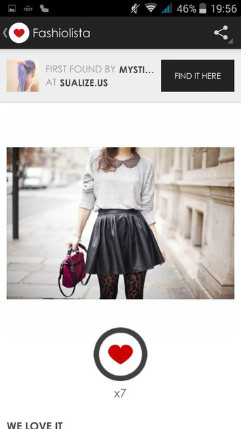 skirt jupe noir effet cuir