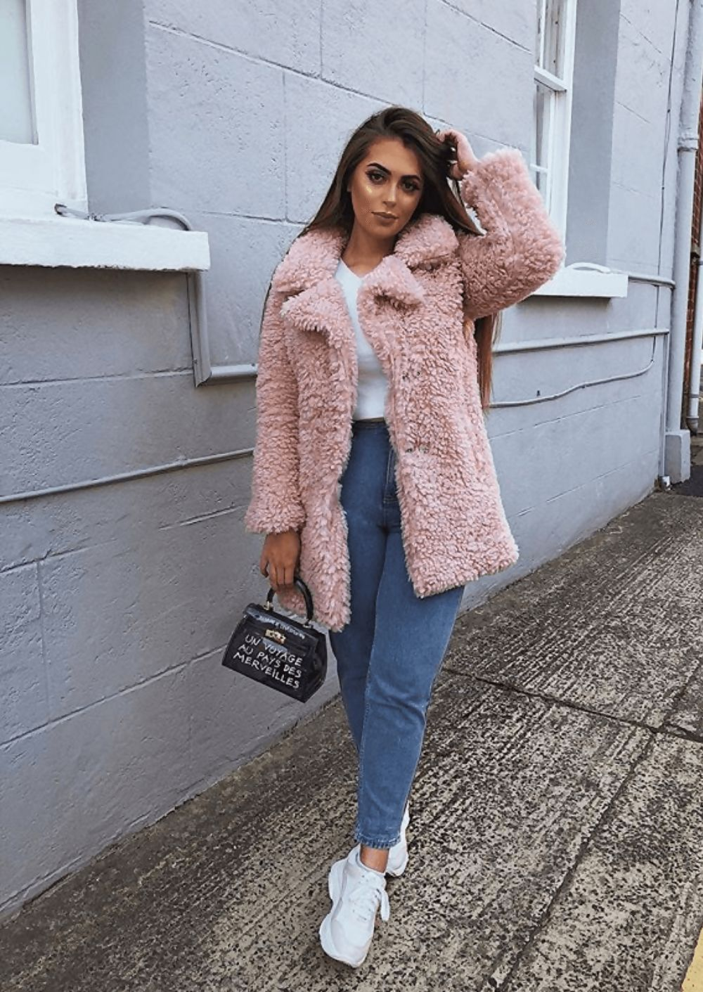 Longline Borg Teddy Coat Pink
