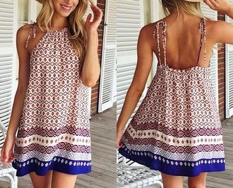 dress boho tumblr summer beach high neck print short dress blogger