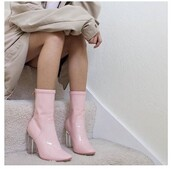 shoes,pinkleatherboots,leather boots,pink,Pinkboots,heels,clear heel,pink heels,boots