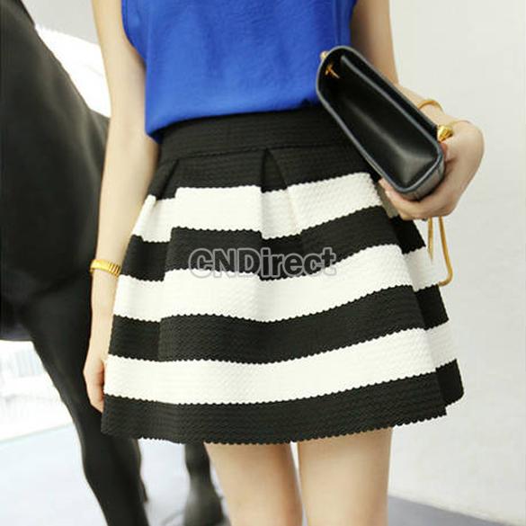Women Stripe High Waist Splicing Color Stitching Texture Short Bubble Skirt